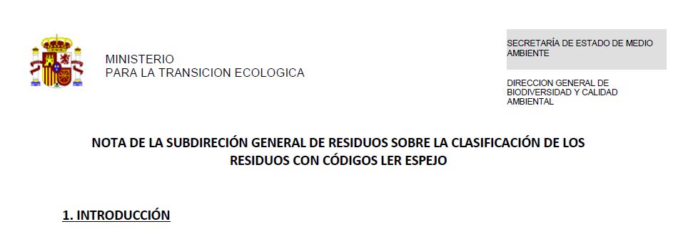Nota PUBLICADA POR LA SUBDIRECCIÓN DE RESIDUOS sobre la clasificación de los residuos con códigos LER espejo