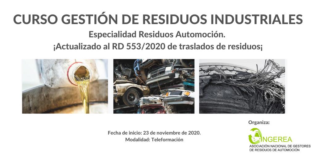 NUEVA CONVOCATORIA EN NOVIEMBRE DEL CURSO ONLINE DE GESTIÓN DE RESIDUOS INDUSTRIALES, ESPECIALIDAD RESIDUOS DE AUTOMOCIÓN