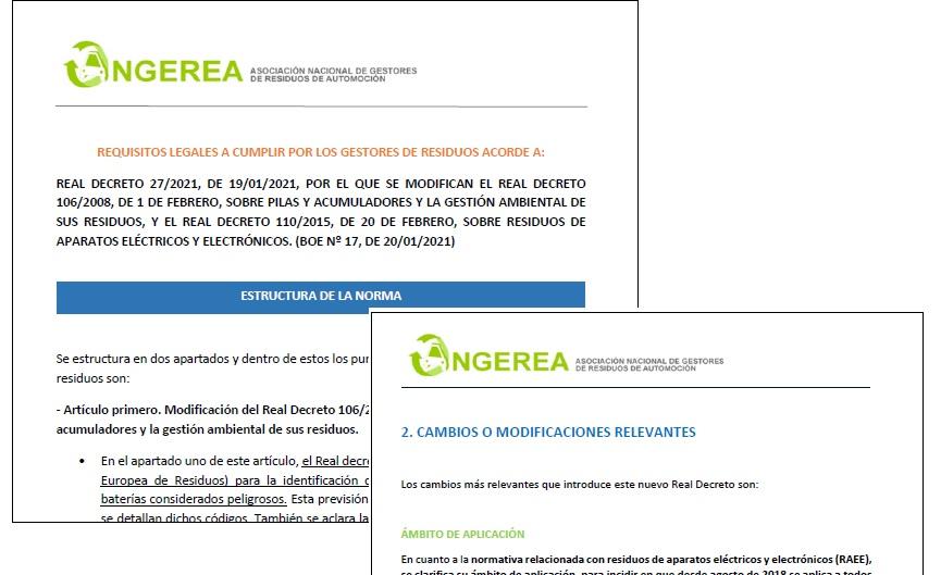 ANGEREA elabora un documento detallando los cambios y requisitos que deben cumplir los gestores de residuos ante el nuevo RD de Pilas y RAEE